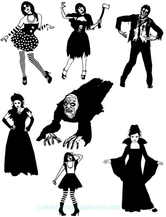 zombie vampire clipart  printable png gothic creepy digital download image graphics black and white monsters digital stamps