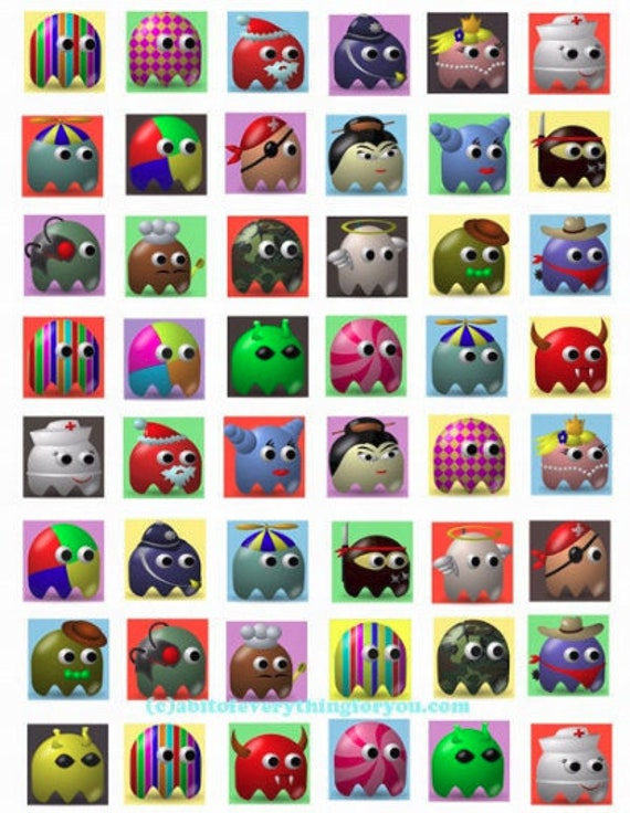collage sheet silly halloween ghost icons clipart digital download 1x1 inch squares images printables diy crafts jewelry making magnets