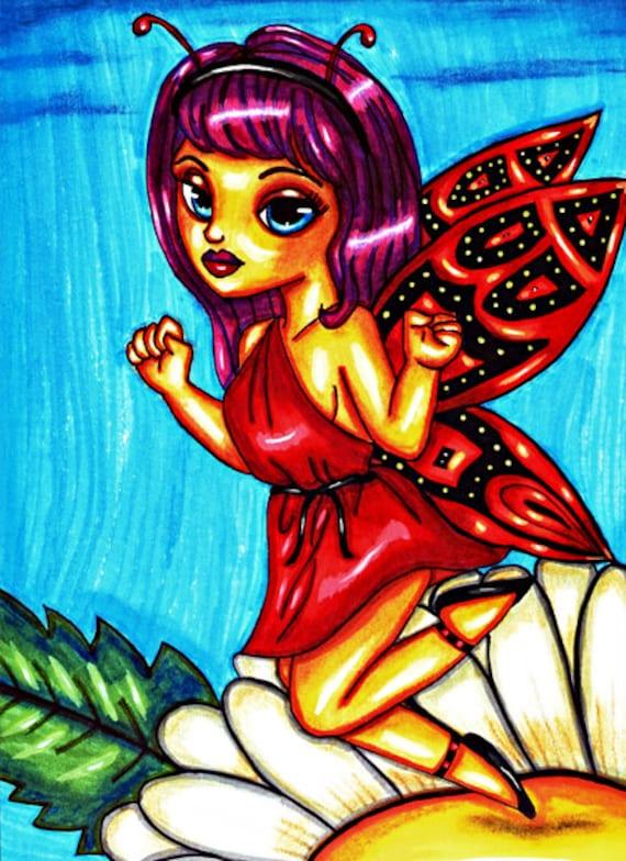 red toga fairy daisy flower original fantasy fairytale big eye art print big eyes artwork