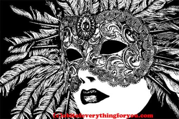 woman wearing feather mask printable art print downloadable mardi gras art digital download image graphics digital print home wall decor