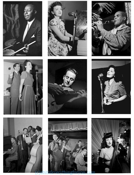 antique musicians music photographs printable collage sheet digital download image graphics vintage black and white 1920s to 1960s photos