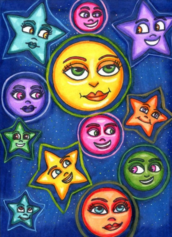 original art drawing happy moon star faces celestial fantasy fairytale whimsical colorful artwork sold by artist Elizavella