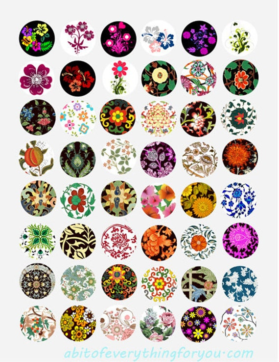 vintage fabrics textiles flowers florals collage sheet 1 inch circles clipart digital downloadable printable images bottlecaps pendants diy