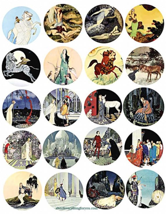 vintage fairytale fantasy collage sheet 2 inch circles clip art digital downloadable graphics images DIY jewelry, pendants, bezel trays