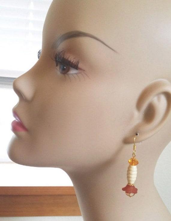 handmade orange flower bead drop earrings wood plastic glass bead jewelry