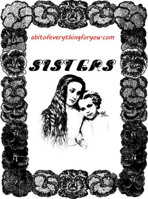 sisters family printable art clipart png digital download vintage image downloadable pansy flowers vintage graphics digital stamp