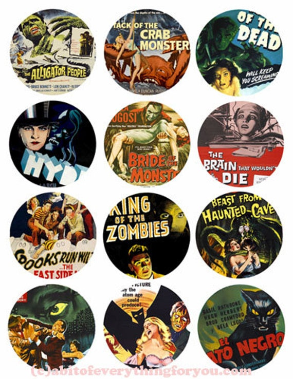 vintage monster creature horror movies clip art collage sheet 2.5 inch circles digital instant download printable graphics images