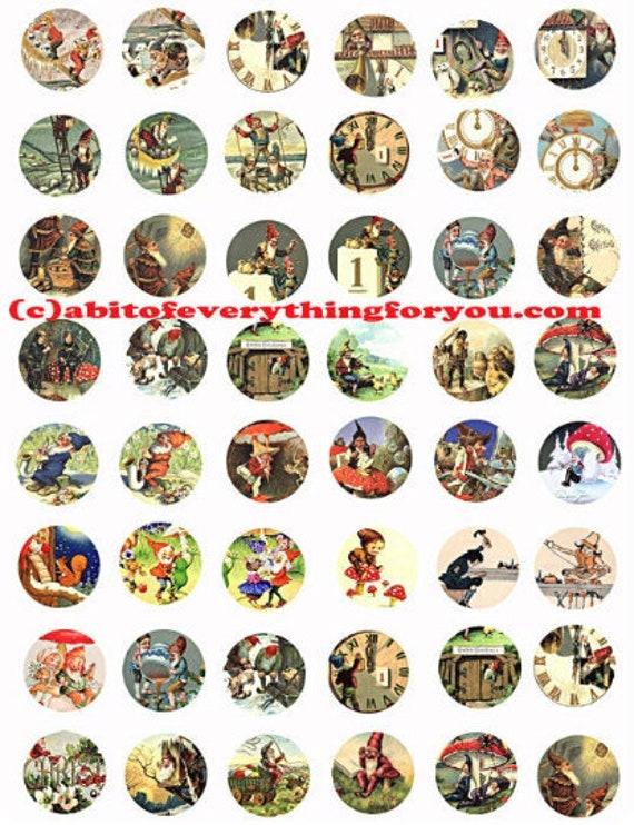 vintage elf gnome dwarf clip art digital download collage sheet 1 inch circles vintage art graphics downloadable bottlecap images printables