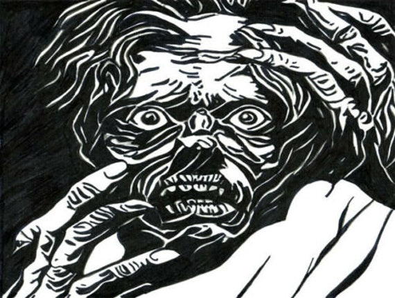 horror Zombie man Ghoul abstract original art drawing pen ink modern science fiction monsters creatures artwork