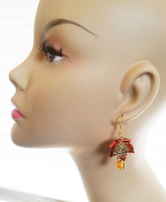 orange copper leaf glass drop earrings rose charms earrings dangles leaves charms sequin leaf handmade jewelry