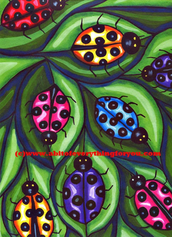 Ladybugs On Leaves ladybug art print insects original drawing animals nature kids room nusery home decor colorful artwork