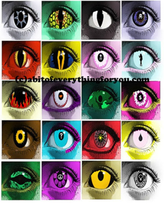 """evil eyes creature alien eyes downloadable collage sheet 2"""" inch squares clip art digital graphics images jewelry collage pendant pins"""