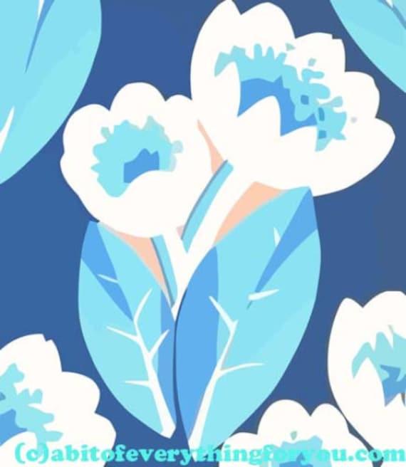 "abstract blue tulip flower printable art poster print digital download image downloadable art 9.5"" x 11"" home living room bedroom decor"