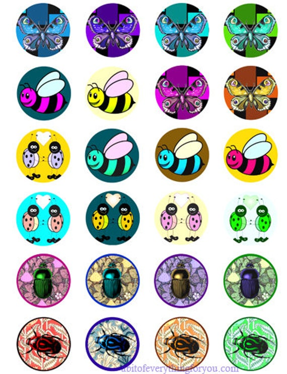 bug insect cartoon art clip art digital download collage sheet 1.5 inch circles graphics images printables for pendants pins magnet