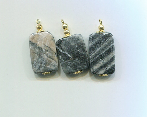 gemstone pendants stone charms gray marble rectangle bead drops jewelry charms 16mm x 35mm  3 pc findings