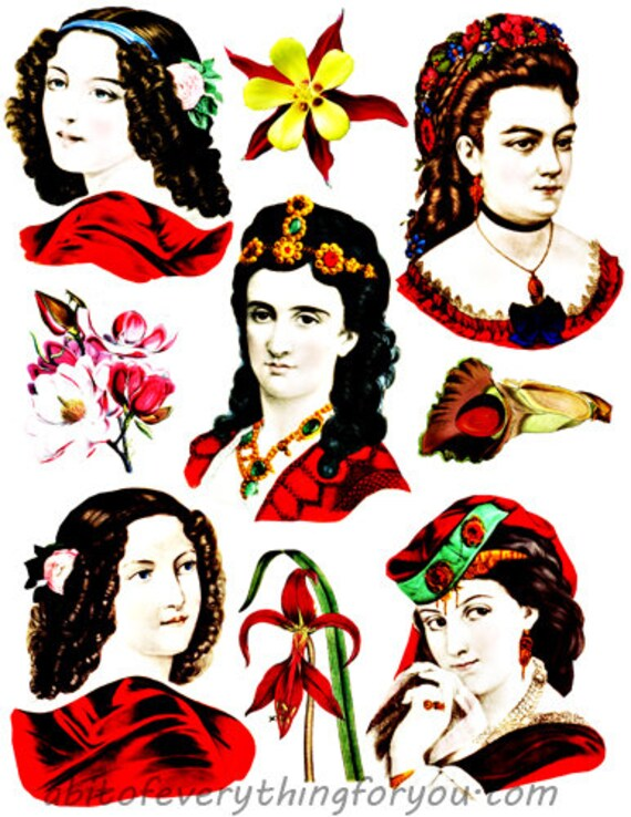 vintage victorian ladies in red dresses downloadable collage sheet die cuts clipart digital download graphics images diy crafts Decoupage