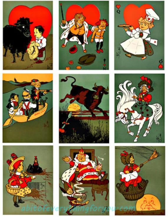 "collage sheet mother goose nursery rhymes digital download 2.5"" x 3.5"" graphics downloadable fantasy images printables diy crafts"