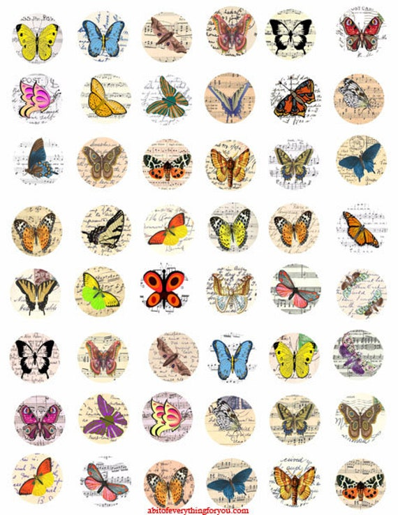 """vintage butterfly postcards clipart digital downloadable collage sheet 1"""" inch circles images pendant pin magnet printables"""