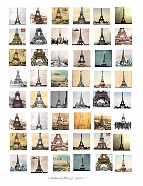 Eiffel Tower Paris france downloadable collage sheet printable 1 inch squares clip art digital download graphics pendant images travel