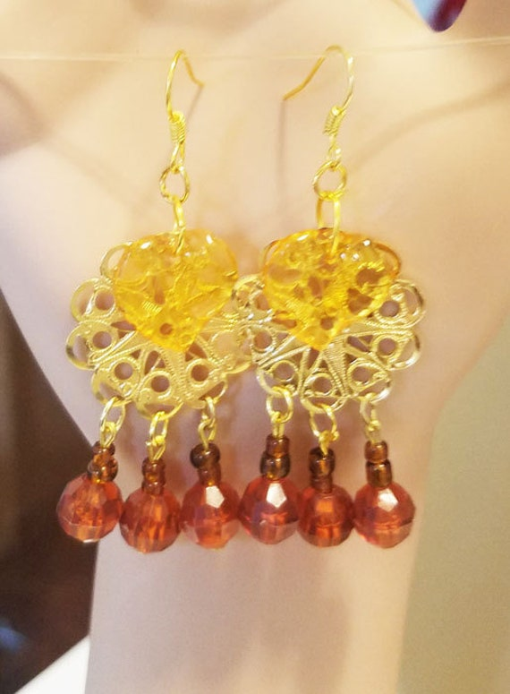 brown gold leaf bead drop chandelier earrings metal plastic glass beads jewelry
