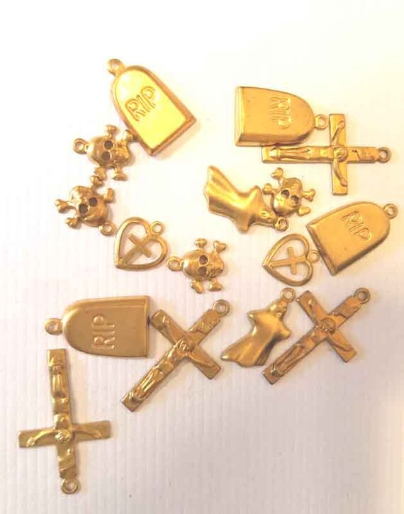 16 vintage gold brass metal goth charms skull cross gravestone jewelry making