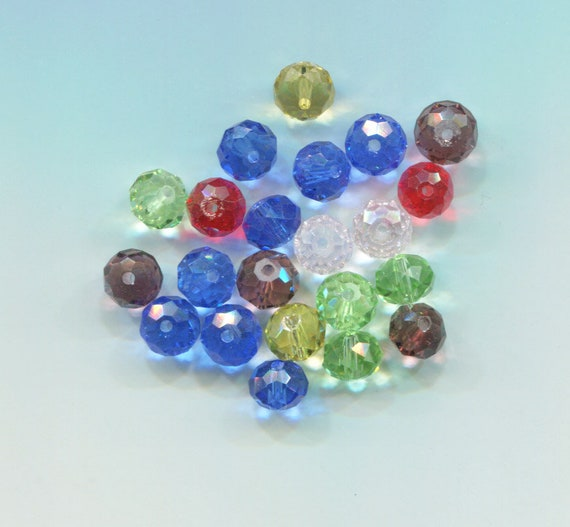 22 mixed CRYSTAL GLASS BEADS lot, 8mm faceted bead lot round assorted colors jewelry making supplies