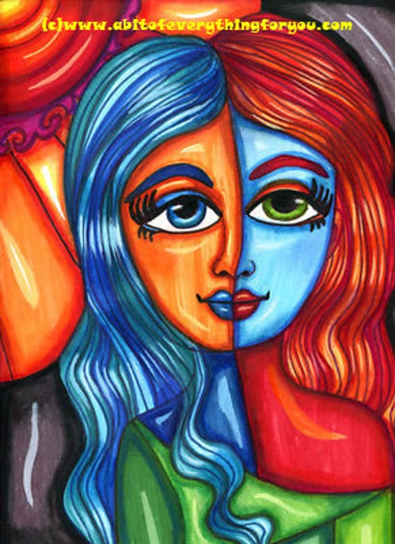 "Happy abstract big eye girl flower original art mixed media colorful drawing modern 9"" x 12"""