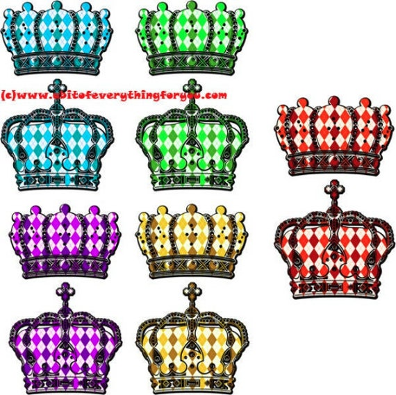 harlequin crowns, king queen crown clipart png die cuts Digital instant Download printable art Image graphics cut outs crafts 5 colors