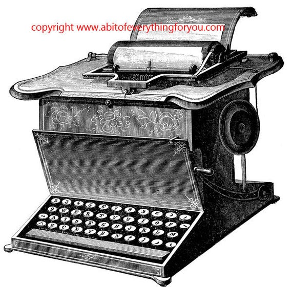 antique typewriter art printable clipart png objects still life digital download image graphics black and white