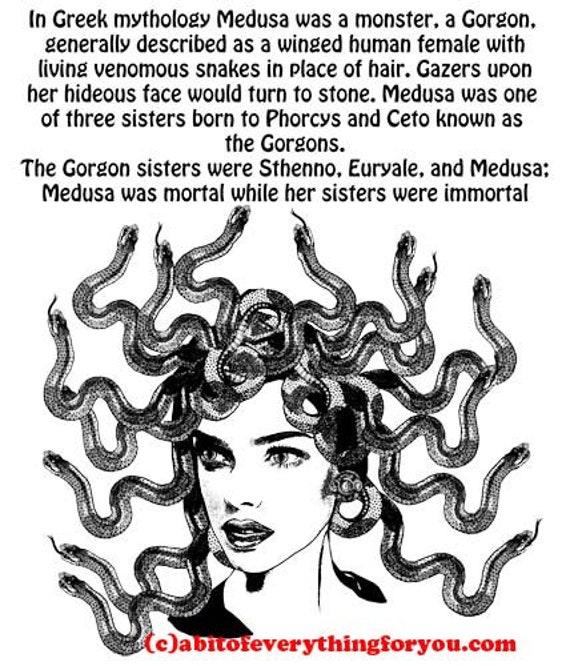 Medusa Greek Mythology printable art print downloadable Fantasy Creatures art digital download image graphics digital print home wall decor