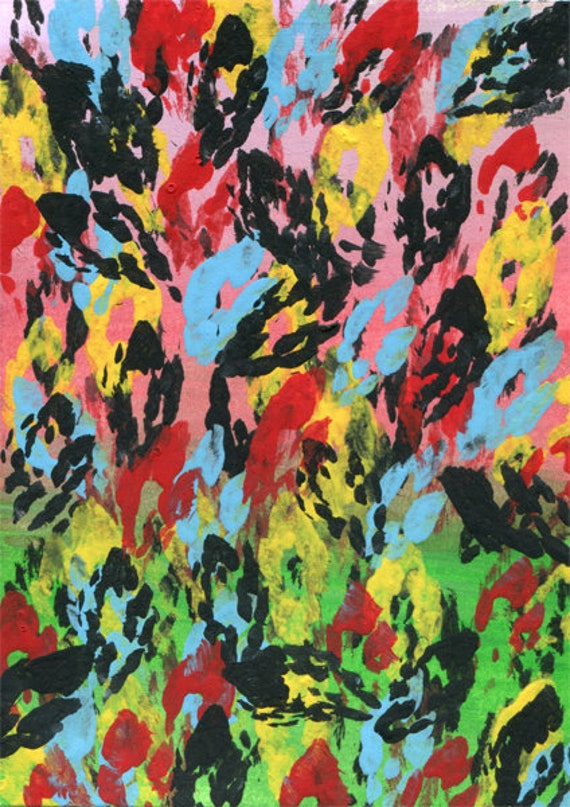 flower Petals nature abstract painting original aceo art miniature colorful black yellow blue pink red