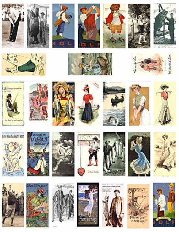 """golf fishing sports vintage art domino collage sheet 1"""" x 2"""" inch postcard images clipart digital download victorian printables pendants"""