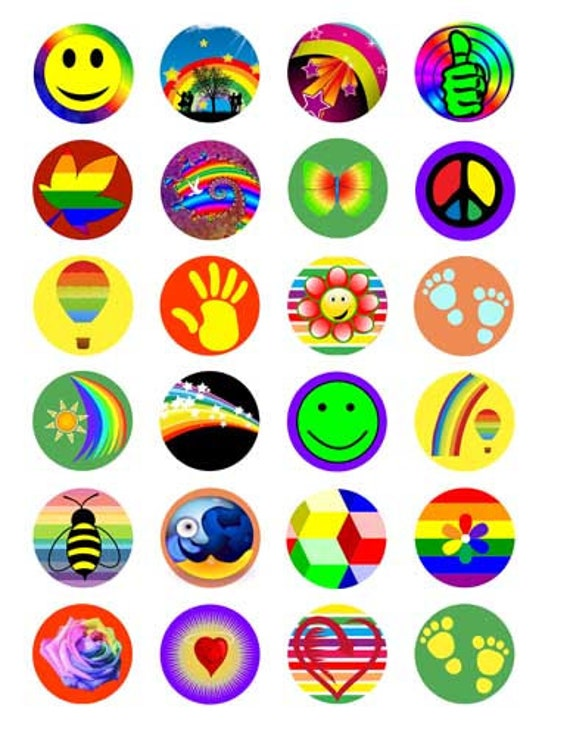 60s 80s style signs symbols clip art digital download collage sheet 1.5 inch circles graphics images printables for pendants pins magnets