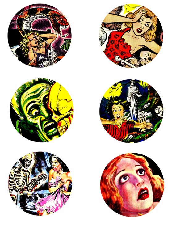 "vintage horror screaming women collage sheet 3"" inch circle clipart digital downloadable printable images DIY Jewelry making scrapbooking"