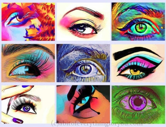 "abstract womans eyes printable collage sheet 2.5"" x 3.5"" inch clipart graphics images digital downloadable DIY crafts scrapbooking"
