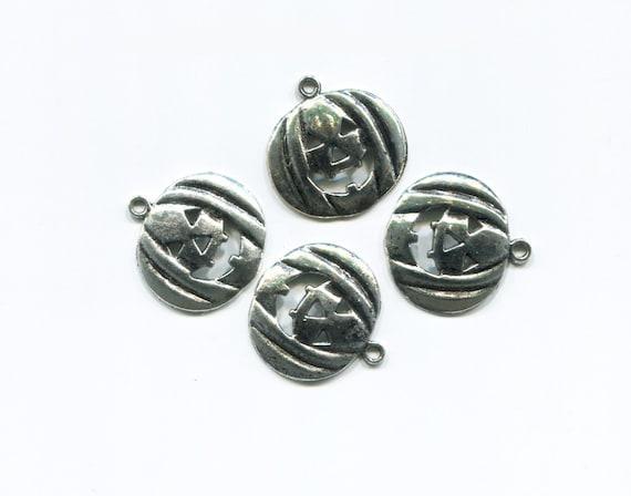 4 silver halloween charms jacko lantern pumpkin charms metal halloween pendants lot 20mm x 23mm halloween charms collection