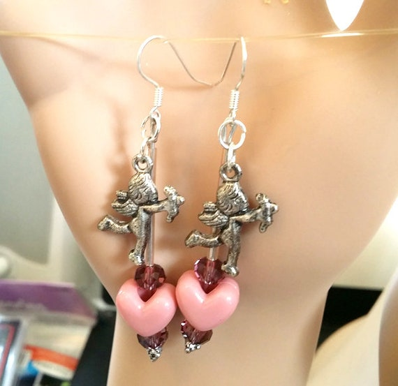 purple heart angel cupid dangle earrings love fantasy beaded charm jewelry new