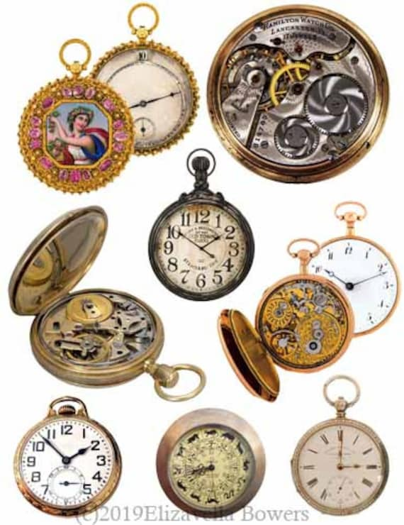 steampunk pocket watches clipart collage sheet instant download digital image graphics printable vintage downloadable die cut craft cut outs