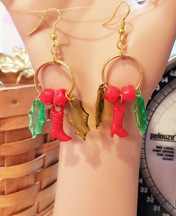 red and green leaf cowgirl boots hoop earrings beads plastic christmas jewelry