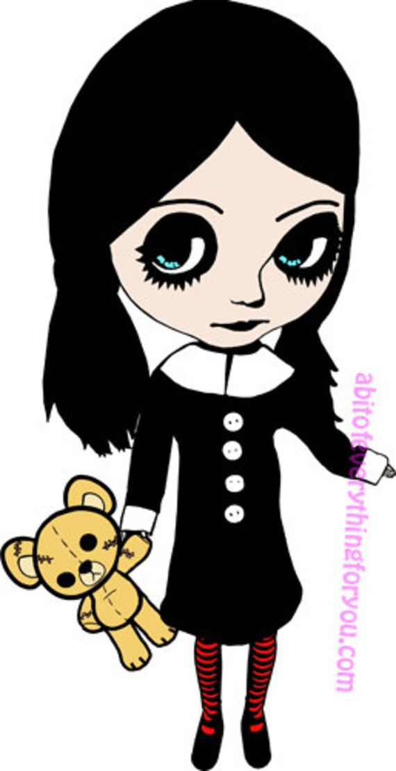 gothic Big eye girl with teddy bear cartoon clip art png printable art digital download image graphics instant downloadable goth artwork