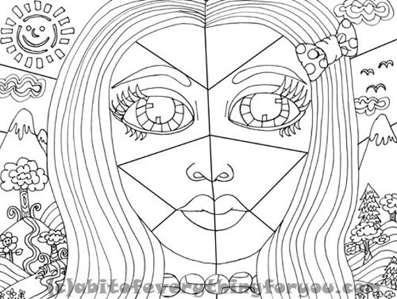 Big Eye Girl Forest Abstract printable coloring page art instant download black and white digital downloadable image graphics line art