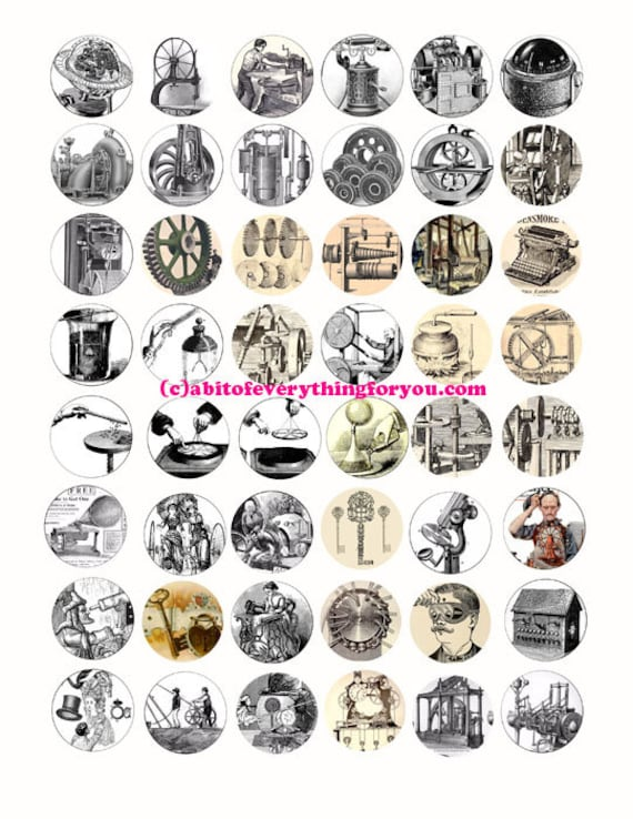 antique machines inventions steampunk clipart digital download collage sheet 1 inch circles vintage images pendant jewelry making printables