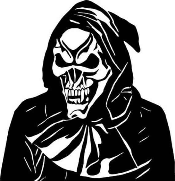 Grimm Reaper Skull hood printable art clipart png digital image skeleton horror graphics halloween instant downloads die cuts