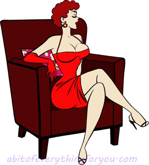 sexy red head pinup girl sitting in chair cartoon pin up printable tattoo art woman clipart png download digital image downloadable graphics