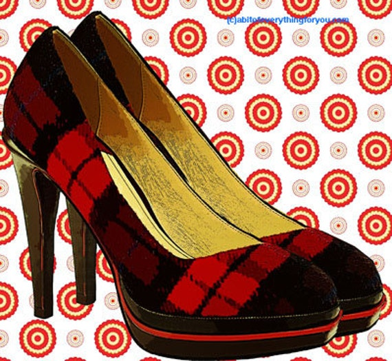 redplaid high heel shoes polka dots printable wall art clipart png download digital image downloadable graphics fashion artwork