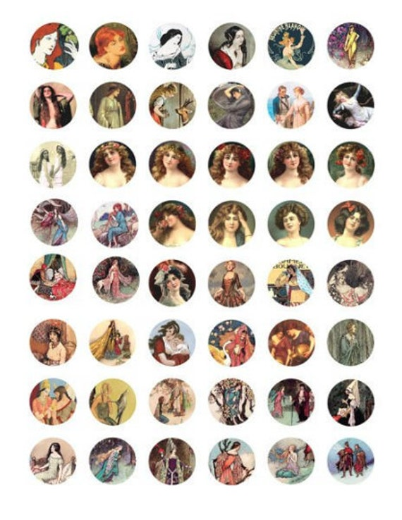 princess maidens damsels clipart digital download collage sheet 1 inch circles vintage images pendant diy jewelry making printables