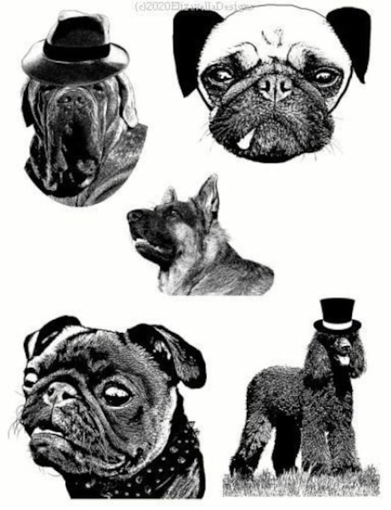 pet portraits dog breeds collage art printable digital download illustrations die cuts animals digital stamps black and white downloadable