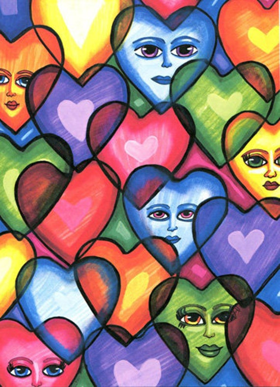 abstract hearts original art print happy faces modern contemporary friendship colorful love artwork