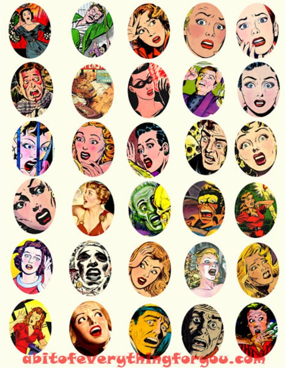 vintage screaming women collage sheet horror comics 30mmx40mm oval pulp clipart digital downloadable printable images DIY Jewelry making