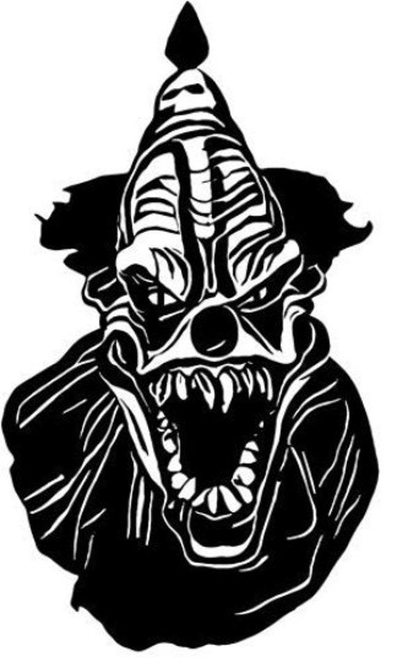 toothy Creepy Evil Clown demon Monster clipart png jpg svg vector printable art file digital image circus horror graphics instant downloads